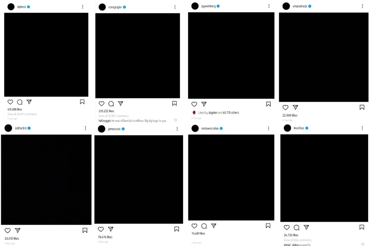 Tampilan Instagram akun resmi Slipknot dan anggota Slipknot. (Dok. Laurensia Felise/Hypeabis.id)